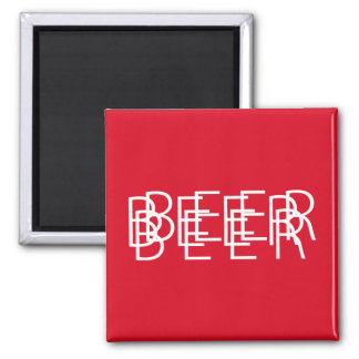 BEER Double Vision - Red and White Square Magnet