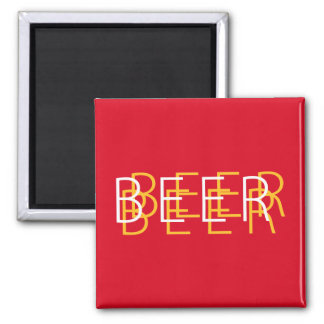 BEER Double Vision - Red and Yellow Fridge Magnets