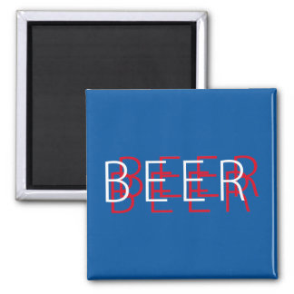 BEER Double Vision - Red White and Blue Square Magnet