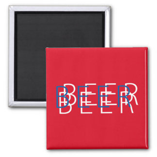 BEER Double Vision - Red White Blue Square Magnet