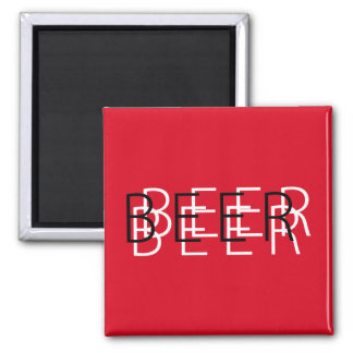 BEER Double Vision - White Red and Black Refrigerator Magnets