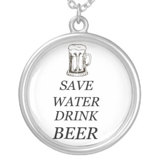 Beer Drink Food Silver Plated Necklace