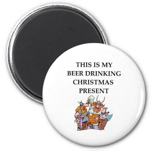 beer drinking fridge magnet