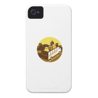 Beer Flight Glass On Van Cityscape Circle Retro iPhone 4 Cover
