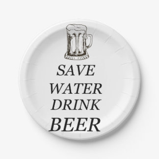 Beer Food Drink 7 Inch Paper Plate