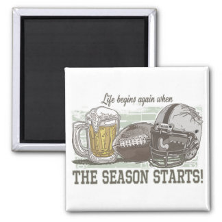 Beer & Football  by Mudge Studios Square Magnet