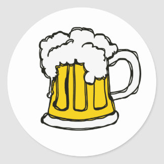 Beer! Frothy Bubbly Mug of Brew Round Sticker
