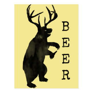 Beer Funny Bear Alcohol Drinking Postcard