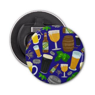 Beer Glass Bottle Hops and Barley Pattern 2 Button Bottle Opener