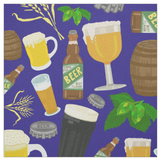 Beer Glass Bottle Hops and Barley Pattern Blue Fabric