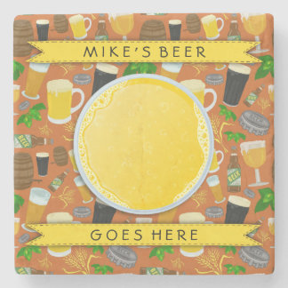 Beer Glass Bottle Hops and Barley Pattern Custom Stone Coaster