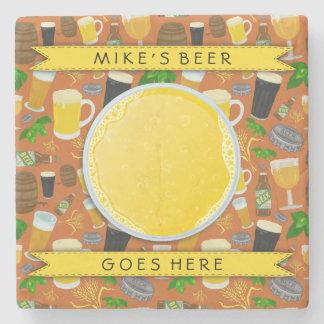 Beer Glass Bottle Hops and Barley Pattern Custom Stone Coaster