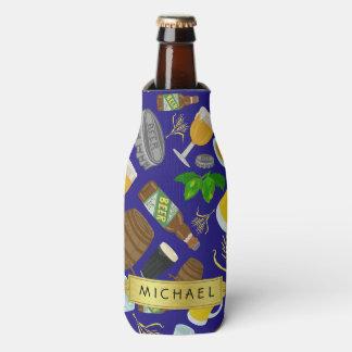 Beer Glass Bottle Hops and Barley Pattern Name Bottle Cooler