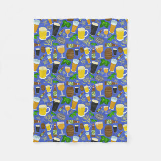 Beer Glass Bottle Hops Barley Pattern Blue Brewery Fleece Blanket