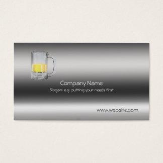 Beer Glass on metallic-look template Business Card