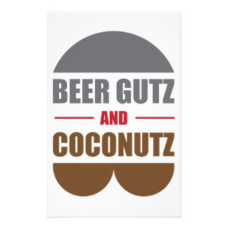 Beer Gutz And Coconutz Personalized Stationery