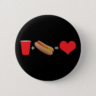 beer + hot dogs = love 2 inch round button