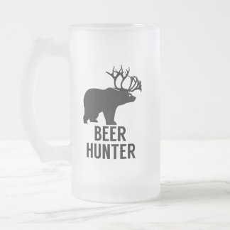 Beer Hunter Bear Dear Corns Caribou Funny Humour Frosted Glass Beer Mug
