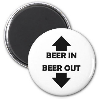 beer in beer out drinking icon 2 inch round magnet