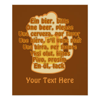 BEER in languages custom poster