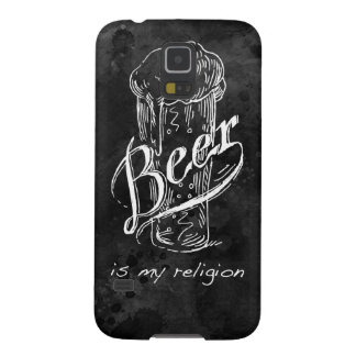 Beer is my religion on black watercolor base. galaxy s5 case