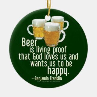 Beer is Proof (Franklin) Ceramic Ornament