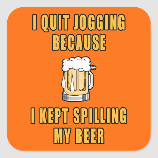 Beer Jogging Square Sticker