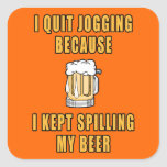Beer Jogging Square Stickers