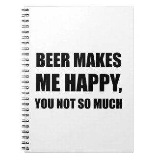 Beer Makes Me Happy You Not So Much Funny Black.pn Notebook