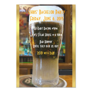 """Beer me Bachelor party 5"""" X 7"""" Invitation Card"""