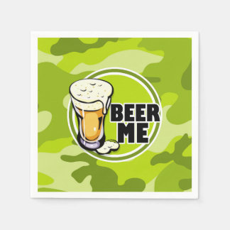 Beer Me!  bright green camo, camouflage Paper Napkin