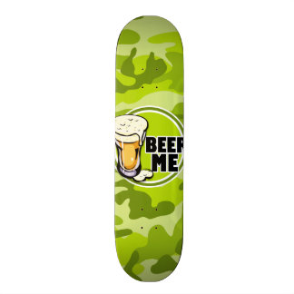 Beer Me bright green camo camouflage Skate Board Decks
