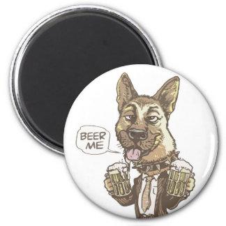 Beer Me German Shepherd by Mudge Studios 2 Inch Round Magnet