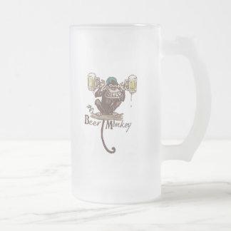 Beer Monkey 16 Oz Frosted Glass Beer Mug