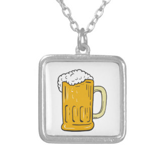Beer Mug Drawing Silver Plated Necklace