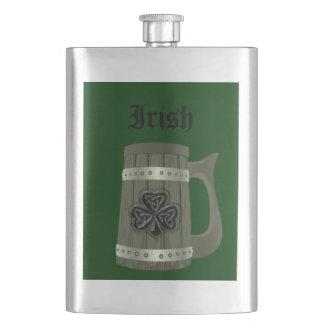 Beer mug Irish lucky shamrock Hip Flask