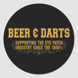 Beer N Darts Classic Round Sticker