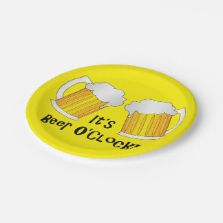 Beer O'Clock Funny BBQ Party Buffet Plates 7 Inch Paper Plate