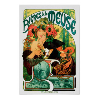 Beer of the Meuse Alphonse Mucha Fine Art Poster
