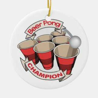 Beer Pong Champion Gift Round Ceramic Ornament