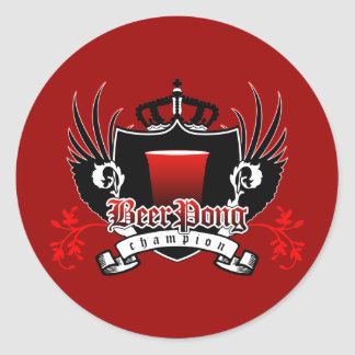 beer pong champion royal crest classic round sticker