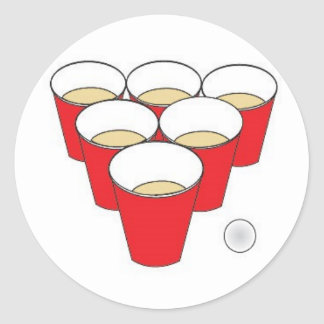 Beer Pong Cups Classic Round Sticker