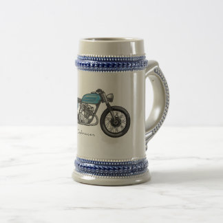 beer potsherd with a bar racecar driver in blue beer stein