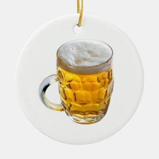 Beer Round Ceramic Ornament