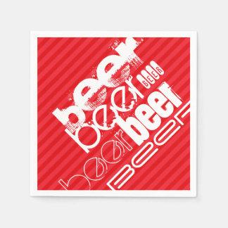 Beer; Scarlet Red Stripes Disposable Napkins