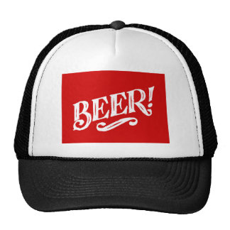 BEER SHOUTOUT RED WHITE BAR BEVERAGE ALCOHOLIC LOG MESH HATS
