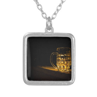 beer silver plated necklace