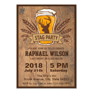 """Beer & Stag Graining Bachelor Party Card 5"""" X 7"""" Invitation Card"""