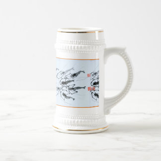 Beer stein painted with swimming shrimps