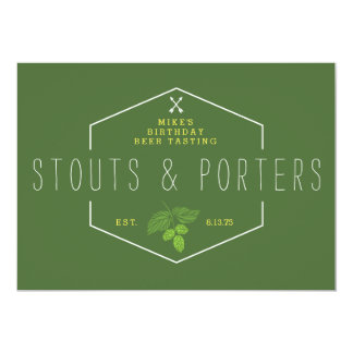 Beer Tasting Party Signage, Stouts & Porters Card